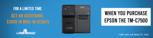 Get $1000 back in Mail-In Rebate when you Purchase the Epson TM-C7500